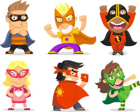 イラストのスーパー ヒーローとして服を着た子供たち