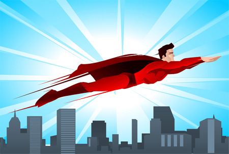 flying: Shining superhero flying over the city, with red suit and red cape vector illustration.