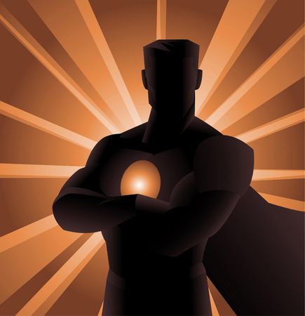 superman: Superhero Shadow front view, with crossed arms and shining powers behind him. Vector illustration.