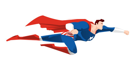 Superhero flying ready to work with red cape and boots, and a blue super hero garment vector illustration. Star shape on its chest. Stock Illustratie