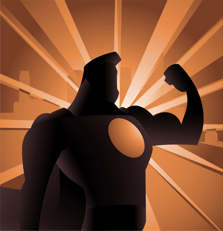 back lit: Superhero Shadow Shining Silhouette vector illustration, with strong arm and shown power. Illustration