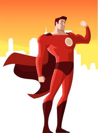 super hero showing his strenght, can be used separatelly from its background. Superhero standing strongly, smiling while showing his powers, with flying cape and red costume vector illustration.