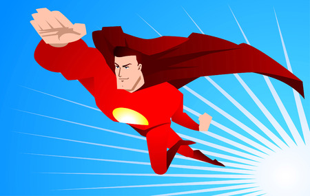 Superhero ready to save the world using his powers, with red superhero costume and red hero cape, with striped light blue backround shining power vector illustration.