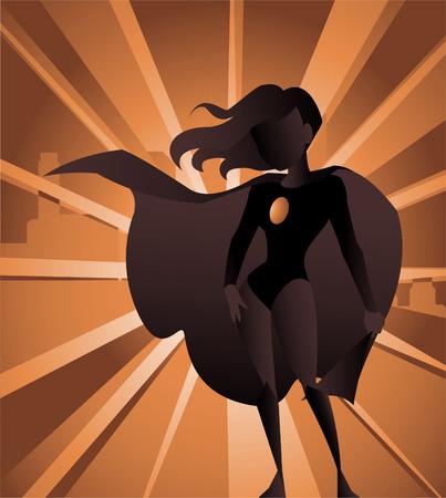 セクシーな金髪のスーパー ヒーロー女性、彼女の後ろに市と自信を持って立っている背景から個別に使用できます。赤のスーパー ヒーローの衣装と