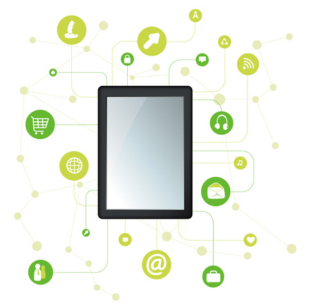 filing documents: Digital tablet with apps icons Illustration