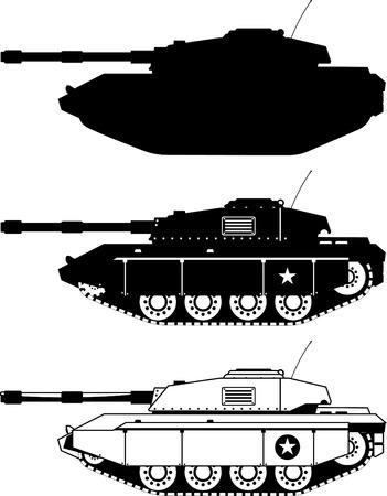 tanque de guerra: Tanque de iconos militares ilustraci�n vectorial.