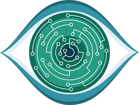 random access memory: Computer Chip Eye Vector Illustration Cartoon. Illustration