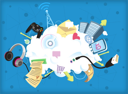 Cloud computing vector illustration, everything is in