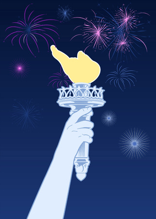 upper arm: Statue of Liberty torch with celebration fireworks Illustration