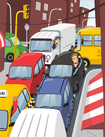 road rage: traffic jam in the city illustration