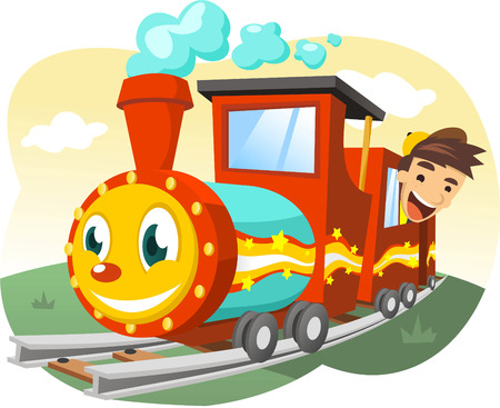 toy train: Cartoon illustration of a Little boy riding a real size toy train.