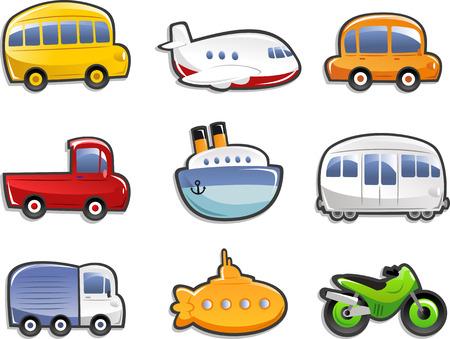 Icone del trasporto, con bus, aereo, auto, camion, camion, nave, sottomarino, moto. Vector illustration Cartoon. Vettoriali