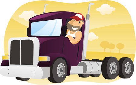 worker cartoon: Truck cartoon illustration
