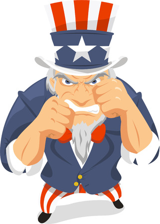 american revolution: Uncle Sam Fists vector illustration, with red and white top hat and american traditional clothing. Illustration