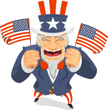 bless: Uncle Sam Flags vector illustration.