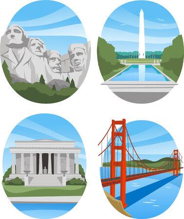 washington dc: United states landmark buildings Illustration