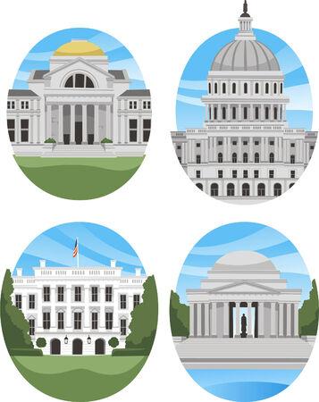 United states landmark buildings and monument Ilustração