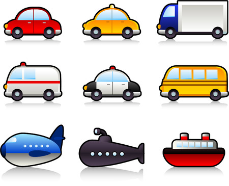 Transport means: with car, taxi, truck, lorry, bus, police car, ambulance, school bus, submarine, airplane, ship. Vector illustration cartoon.