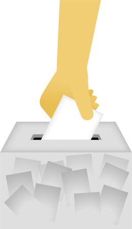 polling booth: Vote Ballot Box with human hand vector illustration.