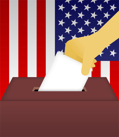 polling booth: Vote Ballot Box with human hand and American Flag Background vector illustration. Illustration