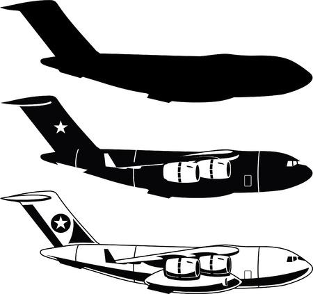War Cargo Military Airplane vector illustration.