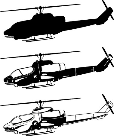 military helicopter: War military Helicopter Icons vector illustration.