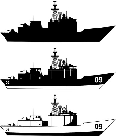 戦争の軍事船のベクトル イラスト。