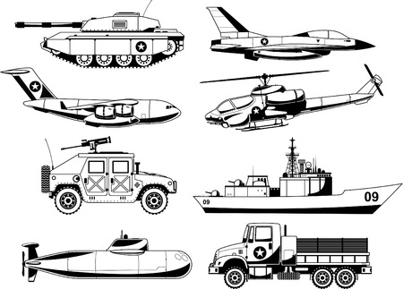 War Military Vehicles Vector Illustration.