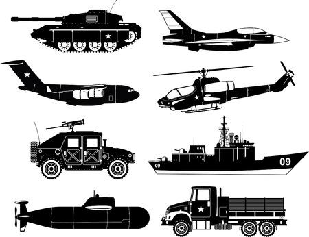 Oorlog Voertuigen Black & White, met tank, oorlog vliegtuig, oorlog lucht ambacht, oorlog raket lucht ambacht, helikopter, transporter, schip, oorlog schip, oorlog onderzeeër, oorlog vrachtwagen. Vector illustratie. Stock Illustratie
