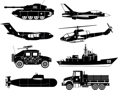 War Vehicles Black & White, with tank, war plane, war air craft, war missile air craft, helicopter, transporter, ship, war ship, war submarine, war cargo truck. Vector illustration. Ilustração