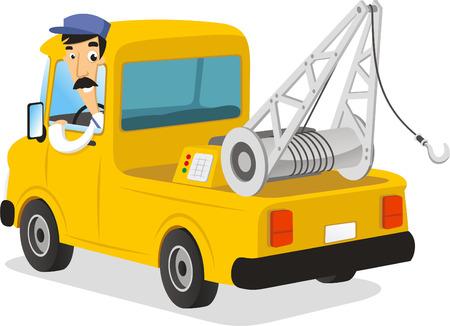 breakdown truck: man driving a wrecker illustration
