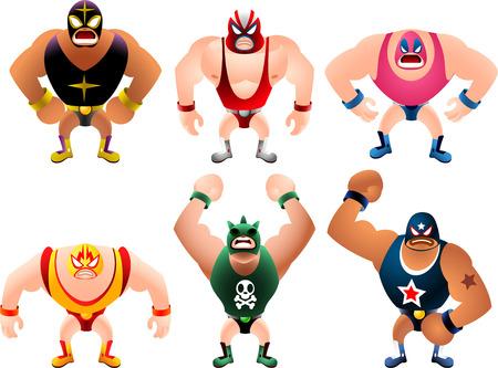 combative sport: Mexican Wrestler Battle Acrobat Fighter Lucha Libre, vector illustration cartoon.