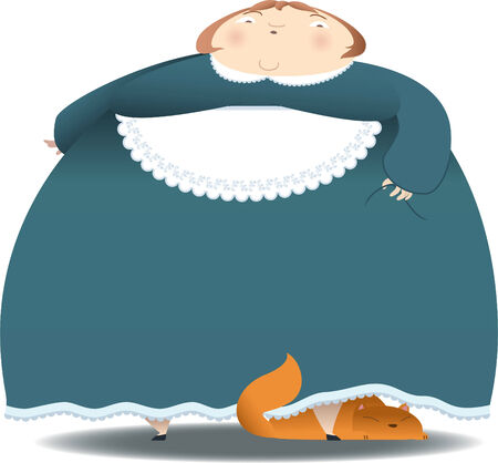 woman looking down: Big lady with cat vector cartoon illustration