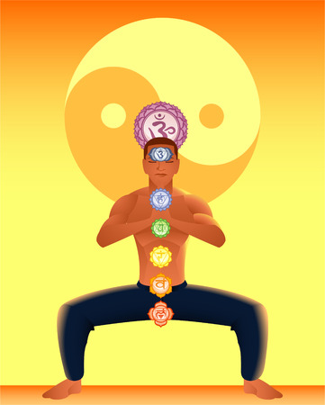 anja: Meditating Asana Chakra Harmonization with Ying Yang Backround vector illustration.