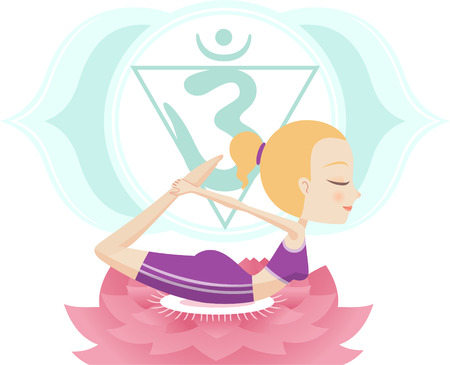 anahata: Dhanurasana Asana Yoga Posture with Om Triangle Symbol on Lotus vector illustration.