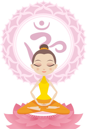 ayurveda: Lotus Meditating Posture Position on Lotus with Om Symbol vector illustration.