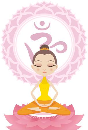 Lotus Meditating Posture Position on Lotus with Om Symbol vector illustration.
