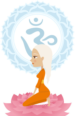 anja: Meditation Meditating Asana Yoga Posture with Om Symbol Mandala vector illustration.