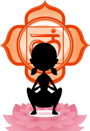 anja: Meditating Yoga Asana on lotus with red Chakra Mandala vector illustration.