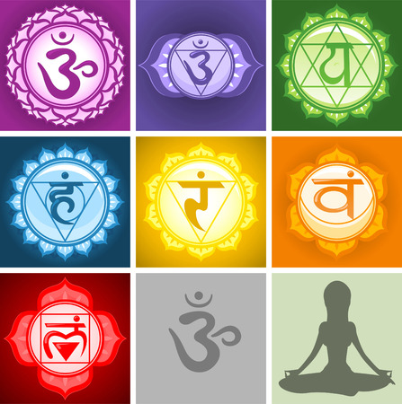 chakra energy: Yoga Chakras symbols collection Illustration