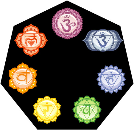 The seven Chakras Energy Mandalas with their colors and symbols In a black energetic circle vector illustration.
