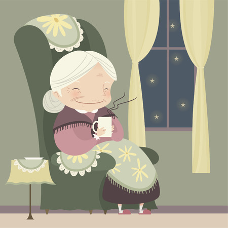 autumn woman: grandma relaxing at winter snowy night with a cup of tea, also, star shape vector illustration cartoon.