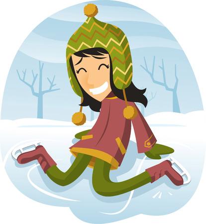 ice rink: Girl ice skating on a lake