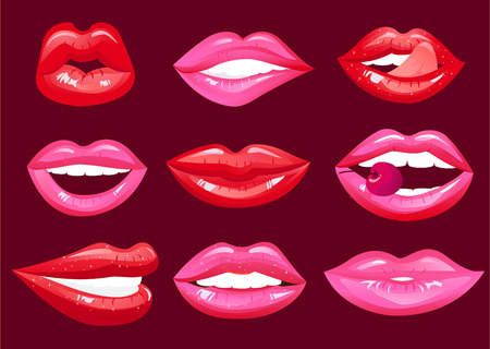 sex symbol: hot lips vector cartoon collection Illustration