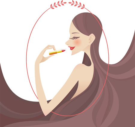 lipstick makeup portrait illustration Stock Illustratie