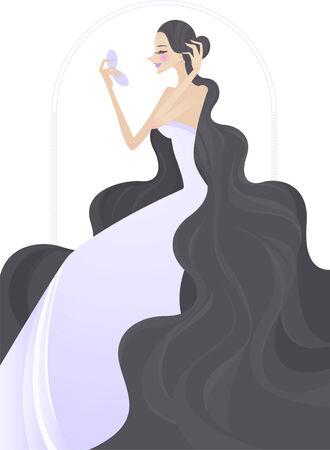art product: art noveau design girl using mirror vector cartoon illustration Illustration