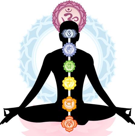 瞑想瞑想アーサナ ヨガの姿勢 Om 記号曼荼羅ベクター イラストを使用。  イラスト・ベクター素材