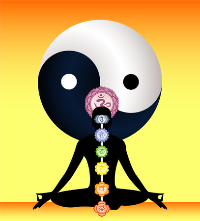 Meditation Meditating Asana Yoga Posture with Om Symbol Mandala and all the seven chakras mandala symbol in spine order vector illustration. Illustration