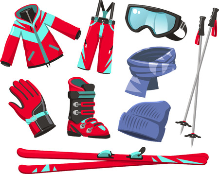 Ski tools and equipment cartoon icons