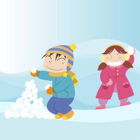 Snow ball battle between boy and girl Vector